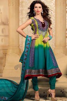 Green Georgette & Net Salwar Kameez