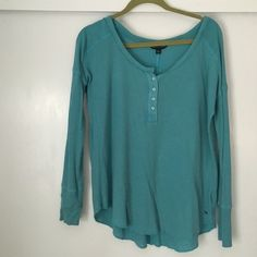 American eagle Henley Worn once. Waffle knit Henley in a pretty turquoise blue. No signs of wear. Great layer piece. Size medium can fit small American Eagle Outfitters Tops Tees - Long Sleeve