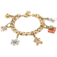 Pre-owned New In Box  Juicy Couture Limited Edition Christmas Holidat... ($159) ❤ liked on Polyvore featuring jewelry, accessories, gold, juicy couture jewelry, gold charms, tri color jewelry, colorful jewelry and gold jewelry