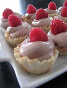 Chocolate Raspberry Mousse Tartlets #easydessert #simple