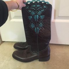 BCBG brown & turquoise boots BCBGMaxaria brown & turquoise blue embellished boots. Size 8.5. Preowned but in great condition. Only real signs of wear are on bottom of boots. BCBGMaxAzria Shoes Heeled Boots