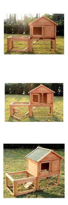 Cages and Enclosure 63108: Pawhut Rabbit Hutch With Outdoor Run -> BUY IT NOW ONLY: $131.99 on eBay!