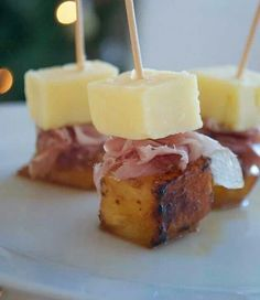 Cheese, ham & caramalised pineapple on a stick.  Great for Xmas parties or ringer food.