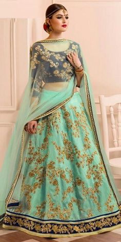 Vibrant Blue Banglori Silk Lehenga Choli With Dupatta.