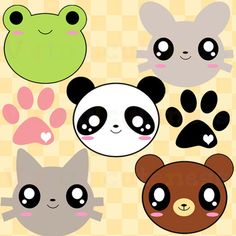Animal Clipart - Cute Clipart, Zoo Clipart, Kawaii, Animals, Panda, Cat, Frog, Bear, Chibi, Fun, Paw Print, Free Commercial and Personal Use