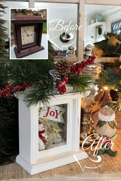 Turn a thrift store clock into pretty Christmas decor! Confessions of a Serial D… Turn a thrift store clock into pretty Christmas decor! Confessions of a Serial Do-it-Yourselfer Pin: 550 x 825 Christmas Clock, Christmas Shadow Boxes, Christmas Home, Christmas Holidays, Christmas Wreaths, Christmas Ornaments, Christmas Vacation, Christmas Movies, Christmas 2019