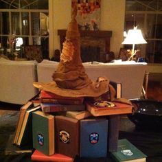 Harry Potter Centerpiece; use old books and cover with book-cover print outs for all 7 books