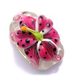 lampwork beads | Tiger lily | Lampwork beads