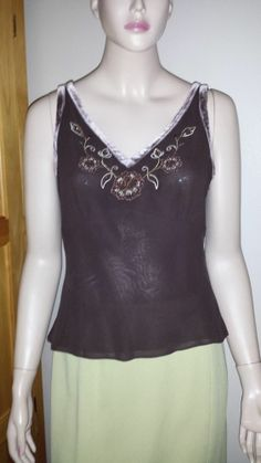 Ann Taylor Loft Petites lined silk beaded with velvet trim tank top size 8P #AnnTaylorLOFT #TankCami