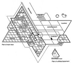 Frank Lloyd Wright Building Plans | Frank Lloyd Wright -- Kraus Residence, floor…