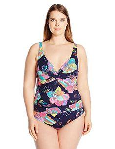 21d1d4a53b2 Women s Plus-Size Over The Shoulder Floral One Piece Swimsuit