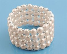 """32MM 4-ROW Sterling Silver White Grade Freshwater Cultured 8-9mm PEARL Bracelet 8"""""""