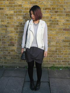 white leather gilet #outfit #streetstyle Grey Blue Dress, H&m Boots, Sunday Roast, White P, White Leather, My Outfit, Going Out, Topshop, Dressing