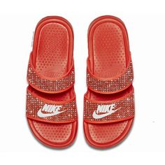 Orange Nike Benassi JDI women's slide sandals …