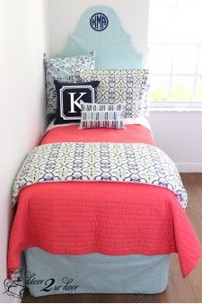 Coral Quilt, Navy & Lime Green Dorm & Teen Designer Bedding Set