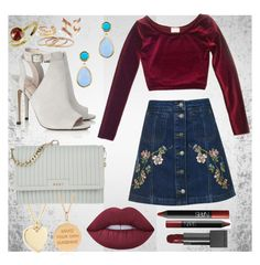 """Fall velvet"" by seasaltcaramel02 ❤ liked on Polyvore featuring J.Crew, Topshop, DKNY, Rachel Jackson, Lipsy, Lime Crime, NARS Cosmetics, Burberry and Marco Bicego"