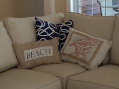 diy beach themed pillows drop cloth burlap and an inkjet printer, crafts, home decor, reupholster, Beach pillows made with burlap drop cloth and an inkjet printer