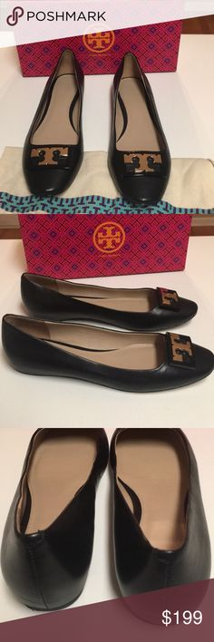 Tory Burch Gigi black leather ballet flats Amazing like new pair of Tory Burch Gigi black leather ballet flat with gold signature emblem. Leather insole and sole.  Like new condition with box and dust bag. Tory Burch Shoes Flats & Loafers