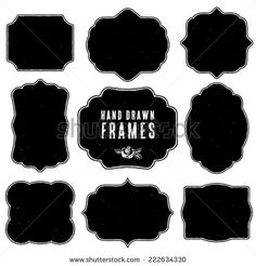 Set of vintage blank frames and labels. Hand drawn vector illustration. Vol.3 - stock vector