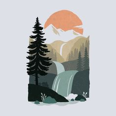 Art Inspo, Kunst Inspo, Painting Inspiration, Art And Illustration, Mountain Illustration, Posca Art, Diy Canvas Art, Cool Art, Art Drawings