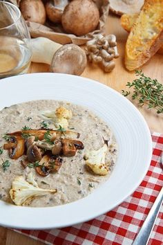 Creamy Mushroom and Roasted Cauliflower Soup. Pro/Fat Almost Level 1 (because of the wine)