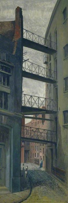 Looking down Clink Street from Southwark Cathedral: 1961 by Noel Spencer. Museum quality art prints with a selection of frame and size options, and canvases. Museum of London Old London, London Art, East London, Edward Hopper, Southwark Cathedral, London Painting, London Museums, English Artists, Royal College Of Art