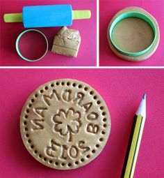 Make Personalized Gold Coin Cookie Stamps Personalized Gold Coin Cookie Stamps for St. Patrick's Day (or any occasion) by Lindsey Boardman for Personalized Gold Coin Cookie Stamps for St. Patrick's Day (or any occasion) by Lindsey Boardman for Personalized Cookies, Custom Cookies, How To Make Toys, How To Make Cookies, Food Crafts, Crafts To Do, Kids Crafts, Diy Cookie Cutter, Salt Dough Crafts