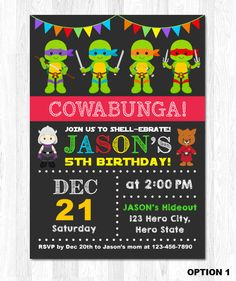 printable teenage mutant ninja turtles inspired birthday, Birthday invitations