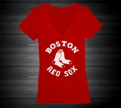 Boston Red Sox Fitted Vneck Tee For Women In Red on Etsy, $19.99