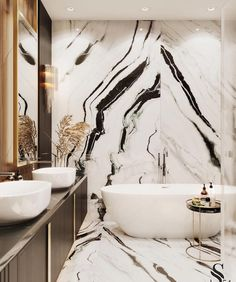 marble wall for luxury bathroom ; large bath, giant marble black and white marble wall for luxury bathroom ; large bath, giant marble black and white Dream Bathrooms, Beautiful Bathrooms, Luxury Bathrooms, Master Bathrooms, Marble Bathrooms, Master Baths, Luxury Hotel Bathroom, Luxury Bathtub, Bad Inspiration