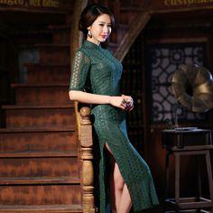 The new long slit height repair cheongsam retro lace long waist dress in cheongsam dress
