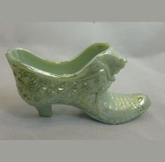 Boyd  Sea Green Opaque Cat Head Glass Shoe Slipper