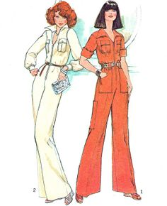 9064ad776dea 1970s Womens Jumpsuit Pattern Simplicity 7310 Front Zip Wide Leg Collared  Jumpsuit Womens Vintage Sewing Pattern Bust 34