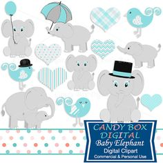 Boy Baby Elephant Clipart for baby showers and more by CandyBoxDigital. Great clip art for digital scrapbooks and journals, blogs and websites, graphic designs, invitations, and all kinds of paper craft applications. At our Etsy shop.
