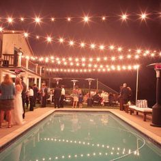 17-Backyard-Wedding string lights over pool
