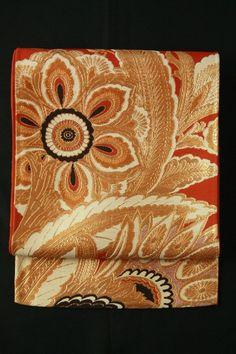 Red brown fukuro obi (rokutsu),  gorgeous arabesque pattern / 赤茶色地 豪華なアラベスク文様 六通袋帯   #Kimono #Japan http://global.rakuten.com/en/store/aiyama/