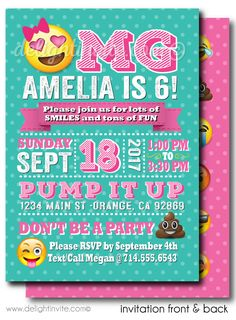 OMG Emoji Birthday Party Invitations - Click Image to Close