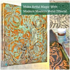 My artsy project using Modern Masters Metal Effects products. Find all of the instructions on the blog at http://mypatchofbluesky.com/make-rusty-patinated-wall-art-magic-using-modern-masters-metal-effects/