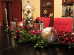 Christina Marie Interiors: Trees With Ease | Christmas Centerpiece | Boxwood, Berries, Mercury Glass, Silver Ornaments