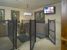 Indiviual runs allow separation for the dogs. Dual system heat/AC unit keeps temperture comfortable year round if required. Dog doors allow in and out for each dog. Human creature comforts include a flat screen TV mounted in the dog house.
