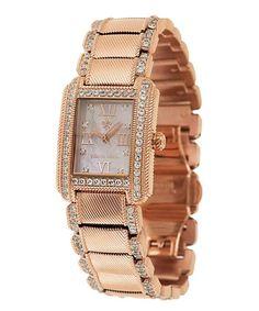 Look what I found on #zulily! Simulated Diamond & Rose Gold Regent Bracelet Watch #zulilyfinds