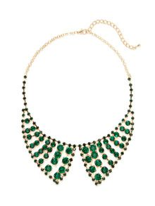 Glass Stone Bib Necklace by Leslie Danzis at Gilt