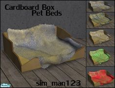 Cardboard Box with a dirty blanket for you poor sims' pets, with recolors. Found in TSR Category 'Objects'
