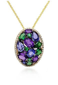 Effy 14k Yellow Gold Sapphire, Amethyst, Tsavorite and Diamond Pendant