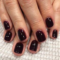 in Midnight Affair Nails Lucy Sharman on Dark Gel Nails, Short Gel Nails, Shellac Nails, Gel Manicures, Dark Nail Polish, French Manicures, Nail Nail, Gel Polish, Acrylic Nails