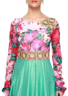Turq anarkali suit enhanced in floral printed yoke only on Kalki