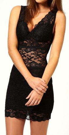 Lace Bodycon Tank Dress ♥ #lbd