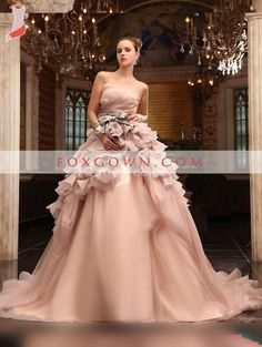 Image of Beautiful Ball Gown Strapless Chapel Train Tulle Satin Wedding Dress Wedding Dresses 2014, Luxury Wedding Dress, Cheap Wedding Dress, Designer Wedding Dresses, Bridal Dresses, Bridesmaid Dresses, Gown Wedding, Wedding Peach, Dresses 2013