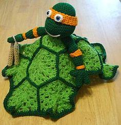 Ravelry: Ninja Turtle Lovey Blankie pattern by Knotty Hooker Designs Crochet Security Blanket, Crochet Lovey, Baby Blanket Crochet, Crochet Toys, Lovey Blanket, Crochet Animals, Crochet Ninja Turtle, Knitted Baby Blankets, Kids Blankets