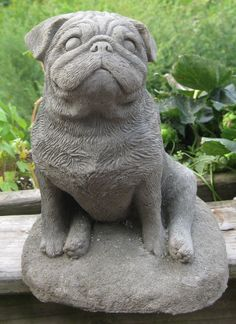 Concrete Pug Dog Statue or memorial by springhillstudio on Etsy, $34.95